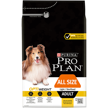 PURINA® PRO PLAN® za sve veličine odraslih pasa Light/Sterilised s OPTIWEIGHT® formulom bogata piletinom