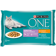 PURINA ONE® SENSITIVE s piletinom i tunom, multipakiranje 4x85g